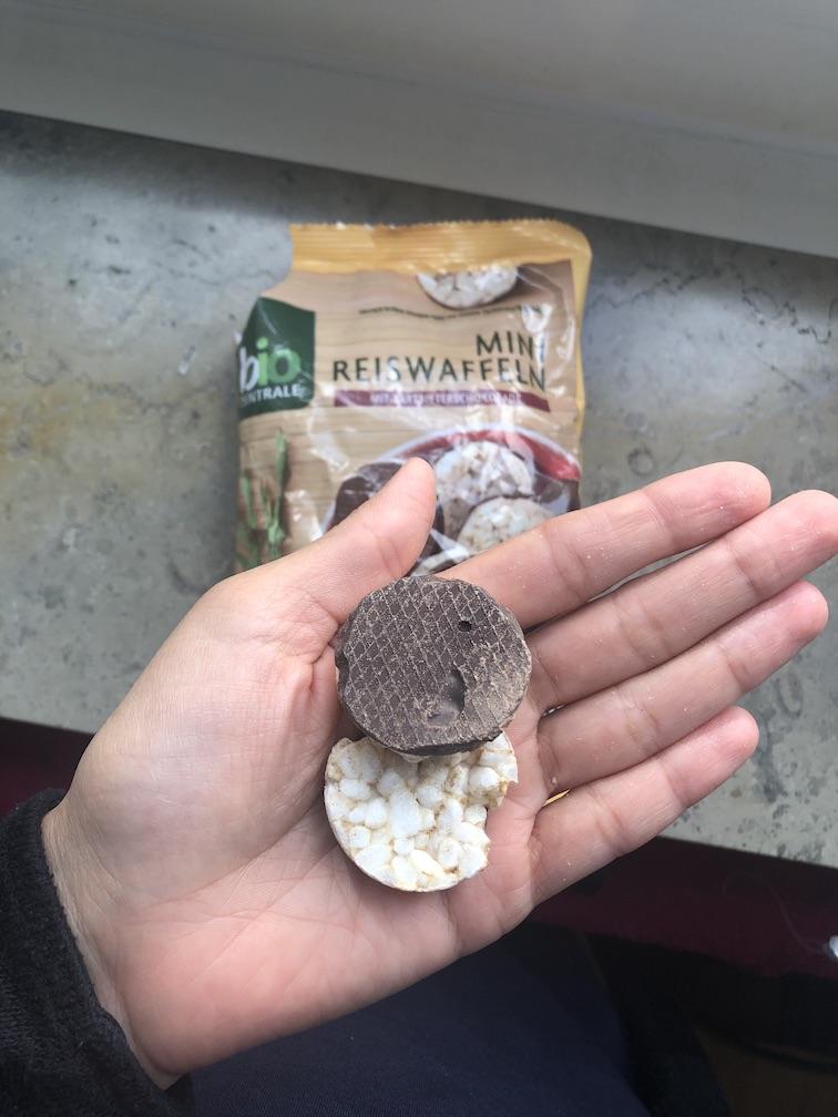 Snacks für unterwegs - Reiswaffeln Schoko