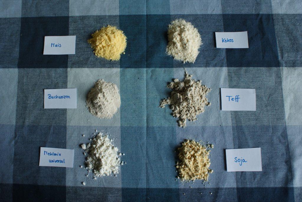 verschiedene Möglichkeiten Mehl zu ersetzen